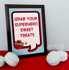 Favor Sign from Supergirl / Superboy Baby Shower :: Kara's Party Ideas Superman Birthday Party, Superhero Theme Party, Birthday Party Desserts, Boy Birthday Parties, 5th Birthday, Birthday Ideas, Birthday Decorations, Baby Shower Food For Girl, Baby Shower Favors