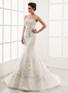Wedding Dresses - Mermaid Sweetheart Chapel Train Organza Satin Wedding Dress With Embroidery Beadwork (002000554) Train-Organza-Satin-Wedding-Dress-With-Embroidery-Beadwork-002000554-g554