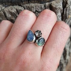 Silver Work, Cluster Ring, Labradorite, Tulip, Silver Rings, Bloom, Jewels, Stone, Unique