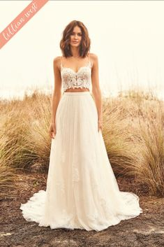 Lillian West wedding dresses embody whimsy and romance. From soft, patchwork laces to flowing silhouettes, Lillian West is perfect for the free-spirit bride. Two Piece Wedding Dress, Elegant Wedding Dress, Dream Wedding Dresses, Wedding Gowns, Wedding Dress Top, Lillian West, Lace A Line Dress, A Line Gown, The Dress