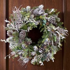 Frosted Winter Cordless Wreath Wreaths And Garlands, Outdoor Wreaths, Outdoor Christmas Decorations, Holiday Wreaths, Winter Wreaths, Halloween Decorations, Winter Decorations, Christmas Arrangements, Holiday Fun