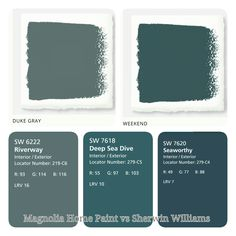 Magnolia Home Paint vs Sherwin Williams. (Just used sherwin williams color snap app to match colors!) Duke gray matched riverway and Weekend matched both deep sea dive and seaworthy best. Fixer Upper paint. Blue and gray paints.