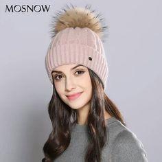 4795b1a6b84f6c Cheap skullies beanies, Buy Quality raccoon fur pom poms directly from  China hat female Suppliers: MOSNOW Woman Winter Hats Wool Raccoon Fur Pom  Pom Stripe ...