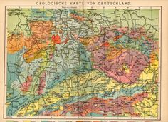 1908 Geological Map of Germany German Geology by Craftissimo, €14.95