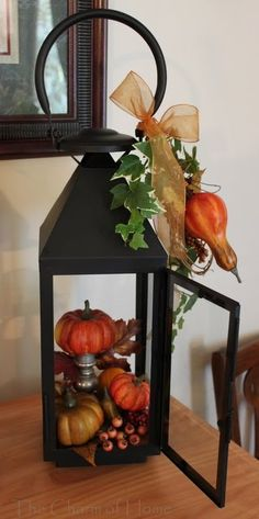 Maybe this is the solution to keep the squirrels from eating every pumpkin and ear of Indian corn I put outside in the fall! Fall Lanterns, Lanterns Decor, Decorative Lanterns, Lantern Centerpieces, Pumpkin Centerpieces, Candle Lanterns, Centerpiece Ideas, Fall Home Decor, Wreaths