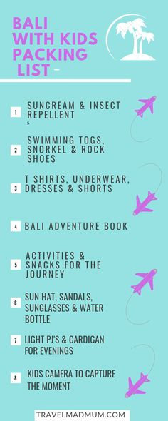 What to pack for Bali with Kids! Here's our guide to an amazing trip to Bali. Read the article to find our extensive article on the best places to visit and of course what we brought with us. Traveling With Baby, Travel With Kids, Traveling By Yourself, Family Travel, Bali With Kids, Bali Baby, Family Friendly Resorts, Yoga For Kids, Bali Travel