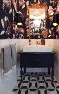bathroom wallpaper An antique dresser was converted into a bathroom vanity. I love the eclectic wallpaper by House Of Hackney - Empire Midnight. I love the Cl Tile Cubicon cement tiles on the floor paired with white subway tile. Eclectic Bathroom, Bathroom Interior, Modern Bathroom, Industrial Bathroom, Bad Inspiration, Bathroom Inspiration, Bathroom Ideas, Bathroom Designs, Eclectic Wallpaper