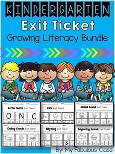 Exit tickets are a great formative assessment. They are a quick way to determine if students get the concept that you have taught or if they need to spend more time on the concept.You can use them in small group , at a related literacy center, or the entire class can do them after a whole group lesson.Kindergarten Letter Recognition Exit Tickets - IncludedBeginning Sound Exit Tickets-IncludedCVC Exit TicketRhyming Words Exit TicketsMedial Sound Exit TicketsEnding Sound Exit TicketsSyllable…