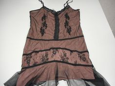 Sexy Ladies' California Dynasty Nightie Slip Women's Large Pink Black Lace #CaliforniaDynasty #SexyNightie #Everyday