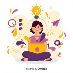 Illustration Design Graphique, Flat Illustration, Character Illustration, Vector Character, Character Design Animation, Retro Logos, Vintage Logos, Education Logo, Planner