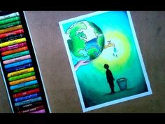 Save Water Save Earth Poster Step by step oil pastel drawing ! For kids and beginners Planet Drawing, Poster Drawing, Save Water Poster, Pastel Drawing, Oil Pastel Drawings, Save Water Poster Drawing, Water Drawing, Pastel Poster, Earth Drawings