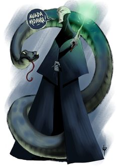 Lord Voldemort and Nagini by Hyxs on DeviantArt Harry Potter Fan Art, Slytherin, Hogwarts, Lord Voldemort, Fantastic Beasts, Character Design, Challenges, Deviantart, Tatoo