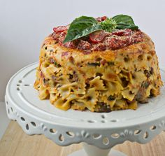 Bow-Tie Pasta Timballo with Ham, Mushrooms, and Peas is a show-stopping masterpiece on your dinner table   Culinary Hill   #cleanplate