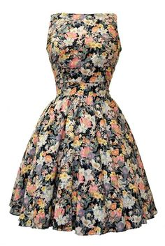 Yellow Floral Tea Dress  Vintage Tea dresses and Skirts