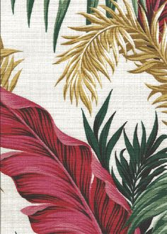 30manawa Tropical Hawaiian feathery, leafy fronds cotton non-upholstery barkcloth fabric.Add Discount code: (Pin10) in comment box at check out for 10% off sub total at BarkclothHawaii.com