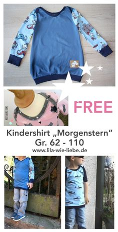 "Kindershirt nähen: ""Morgenstern"" - Freebook - Lila wie Liebe free sewing instructions for a practical top for kids / longsleeve / kids shirt - with pattern - quick and easy, with am. Easy Knitting Projects, Sewing Projects For Kids, Knitting For Beginners, Sewing For Kids, Sewing Crafts, Baby Knitting Patterns, Sewing Patterns, Free Knitting, Sewing Dress"