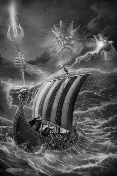 Who is that old man behind the drakkar? Viking Ship Tattoo, Norse Tattoo, Viking Tattoo Design, Viking Art, Viking Warrior, Tattoo Barco, Poseidon Tattoo, Mythology Tattoos, Norse Vikings