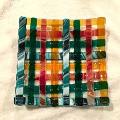 Woven glass fused sushi dish 7 inch square in by SassyGlassBySuzy
