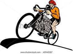 illustration of a Cyclist riding racing bicycle with v8 car engine #cycling #retro #illustration
