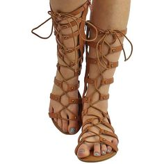 Tan Roman Gladiator Lace-Up Sandals ($35) ❤ liked on Polyvore featuring shoes, sandals, flats women, footwear, tan, roman gladiator sandals, studded flats, strap sandals, lace up flats and adjustable strap sandals