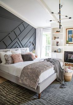 A Mid-Century Modern Master Bedroom Reveal and Giveaway A gorgeous mid-century modern bedroom makeover with a painted moody wall design. Mid Century Modern Master Bedroom, Modern Bedroom Design, Master Bedroom Design, Home Decor Bedroom, Modern Interior Design, Bedroom Wall, Modern Bedrooms, Bedroom Ideas, Master Bedrooms