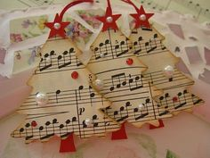Vintage Music Paper Christmas Tree Ornaments or gift tags. Diy Christmas Ornaments, Christmas Projects, Holiday Crafts, Paper Ornaments, Handmade Ornaments, Vintage Christmas Trees, Christmas Ideas, Christmas Tree Template, Christmas Paper Crafts