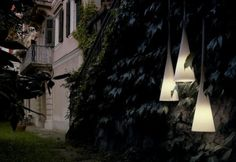 Foscarini outdoor lights. You See- bell shaped, can be hung along path or doorway in garden