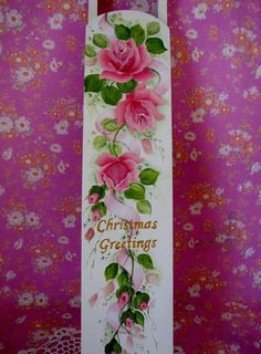Long Sled Christmas Hand Painted Shabby Chic Pink
