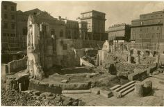 Largo di Torre Argentina durante le demolizioni 1928. Rome, History, Day, Building, Painting, Argentina, Towers, Photos, Theater