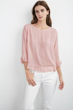 Mira Ruffle Challis Top, Velvet by Graham & Spencer.  http://velvet-tees.com/women/the-latest/mira03-boat-nk-top.html