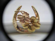 Vintage Signed Krementz Lucky 4 Leaf Clover Gold Overlay Good Luck Pin #Krementz
