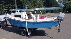 """West Wight Potter, 15 foot pocket cruiser.  Mast hieght 15'6"""" and whole thing weighs less than 500 pounds!"""