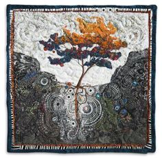 Fertile Ground Trees - She Provides - Lorraine Roy: Textile Art Nausicaa, Wet Felting Projects, Heaven Art, Felt Pictures, Fibre And Fabric, Tree Artwork, Tree Quilt, Textile Fiber Art, Landscape Quilts