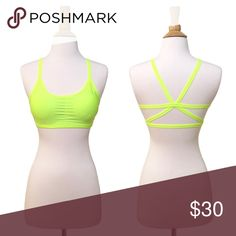 Strappy Back Caged Padded Bralette - Neon Yellow Fluorescent 80s yellow! Ultra comfortable, super stretchy material makes this cute, strappy, racerback style bralette perfect for everyday wear. Lightly padded, removeable.   OSFM up to about a 34B-36C.  Also available in hot pink and black.   ❌ Sorry, no trades.  *star pattern fairlygirly Other