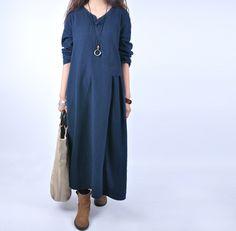07506ca021d Women casual loose 100% linen maxi dress - Tkdress - 1 Warm Dresses