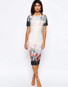 Bild 1 von ASOS – Mittellanges T-Shirt-Kleid mit bedrucktem Rand