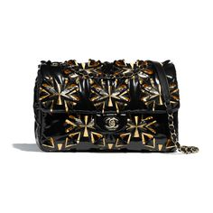 Flap Bag - Black & Gold - Embroidered Vinyl & Gold-Tone Metal - Default view - see standard sized version Chanel Purse, Chanel Handbags, Black Handbags, Chanel Bags, Coco Chanel, Karl Lagerfeld, Fashion Bags, Fashion Backpack, Fall Collection