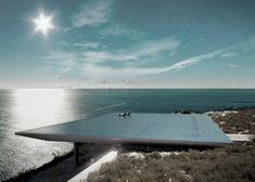 'Mirage House', Greece by Kios Associated Architects. It has a panoramic view of the Aegean Sea. Its most striking feature is the roof, a rimless swimming pool. The pool provides both insulation and protection from the sun and heat. Infinity Pools, Ibiza, Cabinet D Architecture, Architecture Design, Greece Architecture, Architecture Board, Swimming Pool Designs, Swimming Pools, Piscina Do Hotel