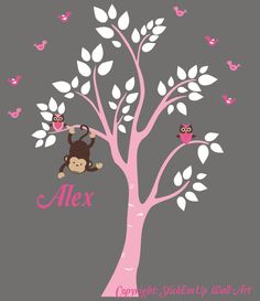Wall Decal Tree Pastel Colored, Monkey, Owls, Birds, Custom Name - 390 - Nursery Wall Decals - Baby Wall Decals - Monkey Wall Decal