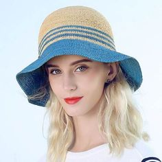ca372015142ae8 Blue striped straw sun hat UV protection for summer ladies beach hats