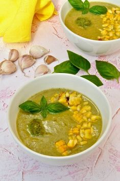 Courgette Corn Soup With Vegan Pesto - Tin and Thyme Corn Soup, Veggie Soup, Vegetarian Soup, Vegan Pesto, Basil Pesto, Corn On Cob, Roasted Corn, Bowl Of Soup, Vegan Cheese
