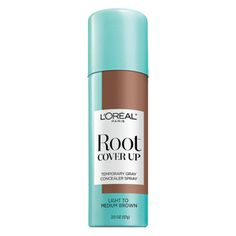L'Oreal's Root Cover/Touch Up in Light to Medium Brown, can buy at CVS. I bought this in dark brown and I really like it. Just a little spray is all you need. It's way better than covering my grays with eyeliner/eyebrow pencil, which is what I was doing ~ ha! I might try it in light brown, too.