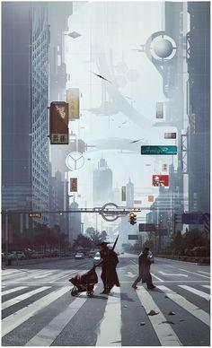 Cyberpunk, industrial a novoromantika v textech a hlavne obrazech. Cyberpunk City, Arte Cyberpunk, Futuristic City, Futuristic Architecture, Fantasy Landscape, Fantasy Art, Arte Sci Fi, Sci Fi City, Images Star Wars