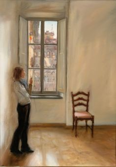 Malin at the Window by Rebecca Harp Window View, Window Art, Through The Window, Heart Beat, Harp, Balconies, Solitude, Figure Painting, Modern Art