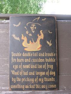 Hand Painted Halloween Sign Primitive Halloween Sign...Double Double Toil And Trouble