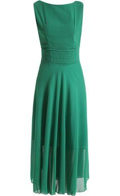 Green Sleeveless Pleated Chiffon Maxi Dress Suggerimenti a9c9a7696b0