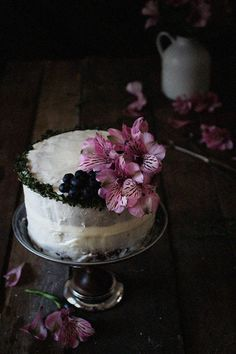 Blueberry Lemon & Thyme Cake with Goat Cheese Frosting