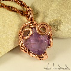 Amethyst Pyramid Crystal Necklace Antiqued Copper Wire Wrapped Natural Gemstone #MBAHandmade #Wrap