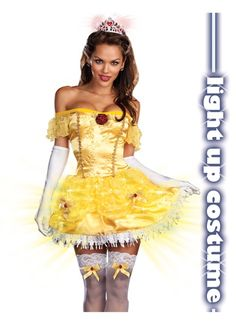 Sexy Beauty Disney Belle Princess Lighted Halloween Costume