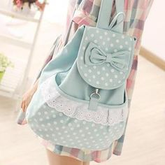 Bow-Accent & Polka Dot Canvas Backpack from #YesStyle <3 Canvas Love YesStyle.com